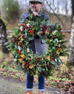 A man sized wreath by Forbes Flowers Alford, Scotland - complete with antlers!