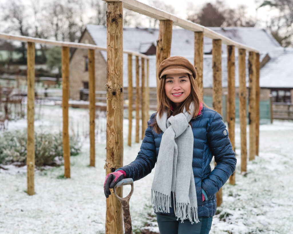 Yalham Hayes Farm in winter - Aizel checks on her flower plot for snow damage