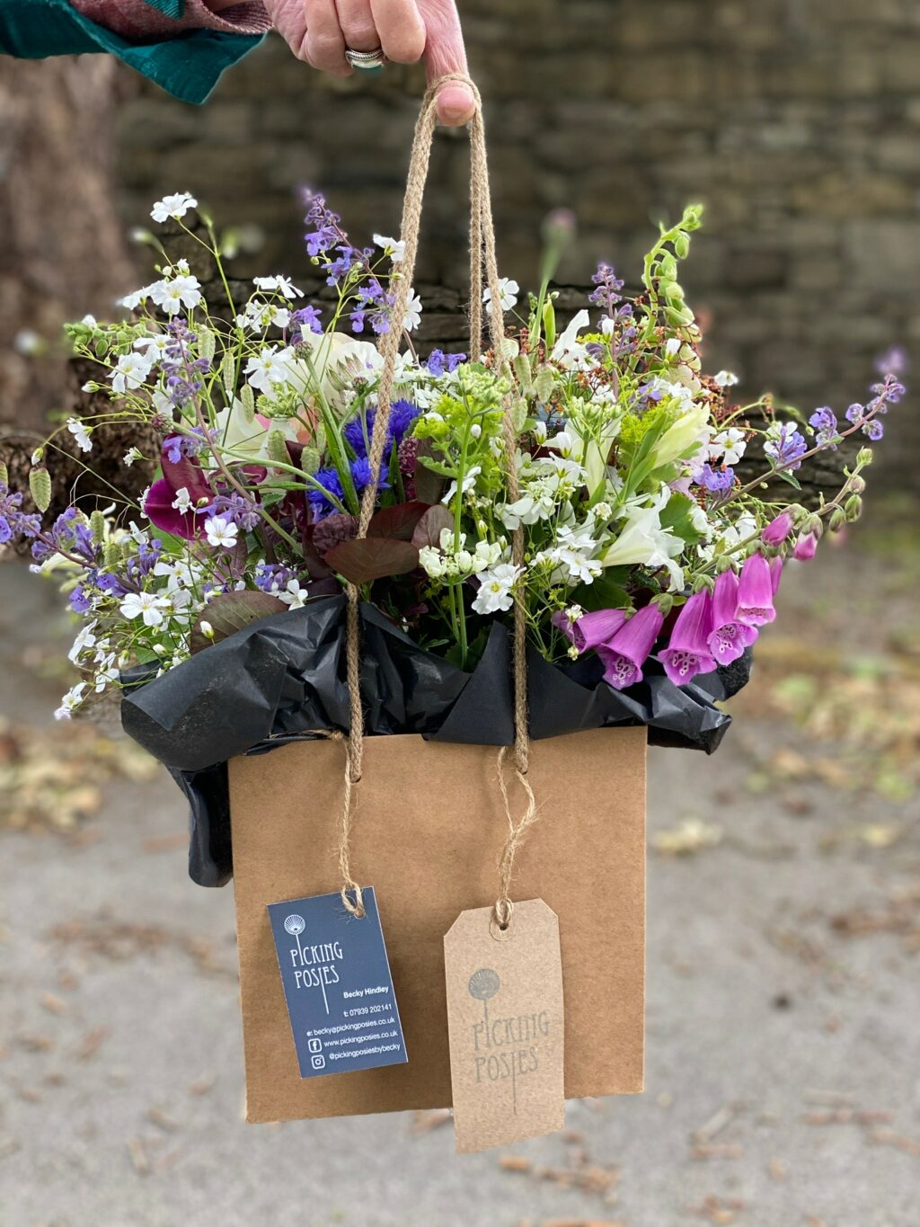 Posies of British cut flowers gathered in a small gift bag ready for local delivery by Becky of Picking Posies, Lancashire.