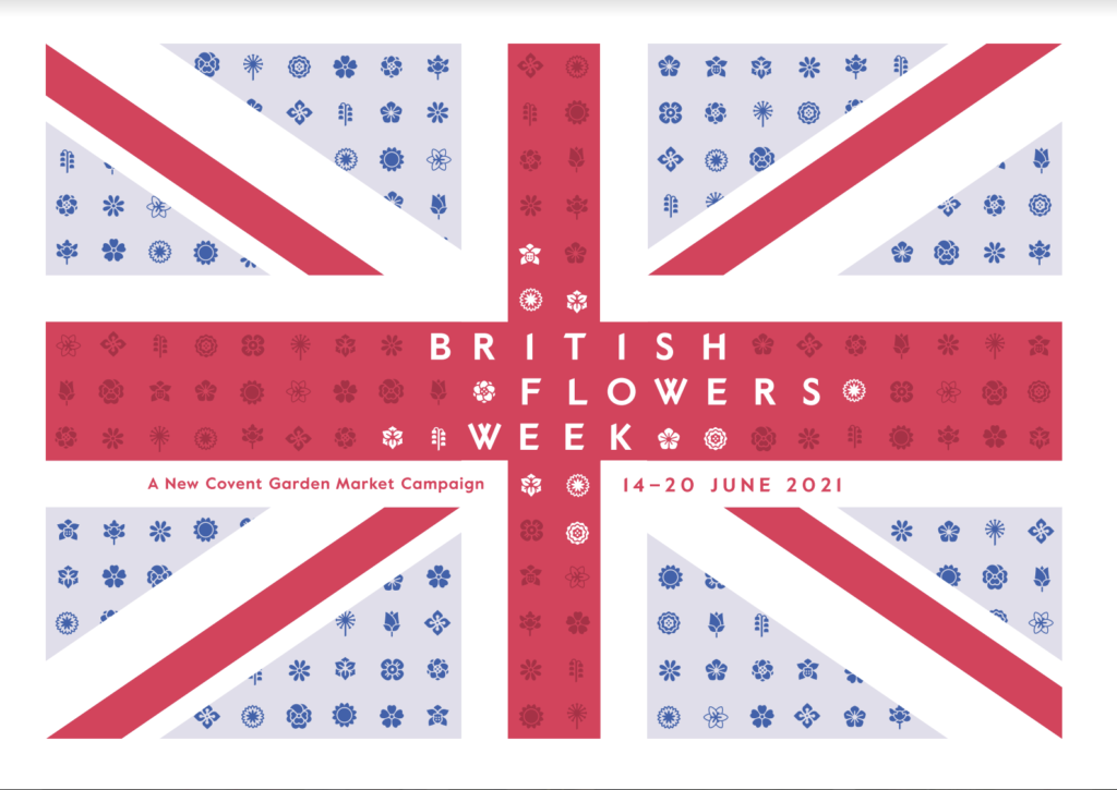 The British Flowers Week union jack logo with flowers making up the stripes.