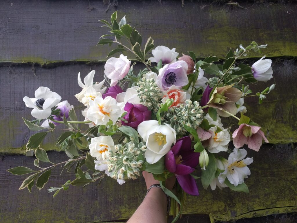 A spring bouquet of British flowers by Camomile and Cornflowers