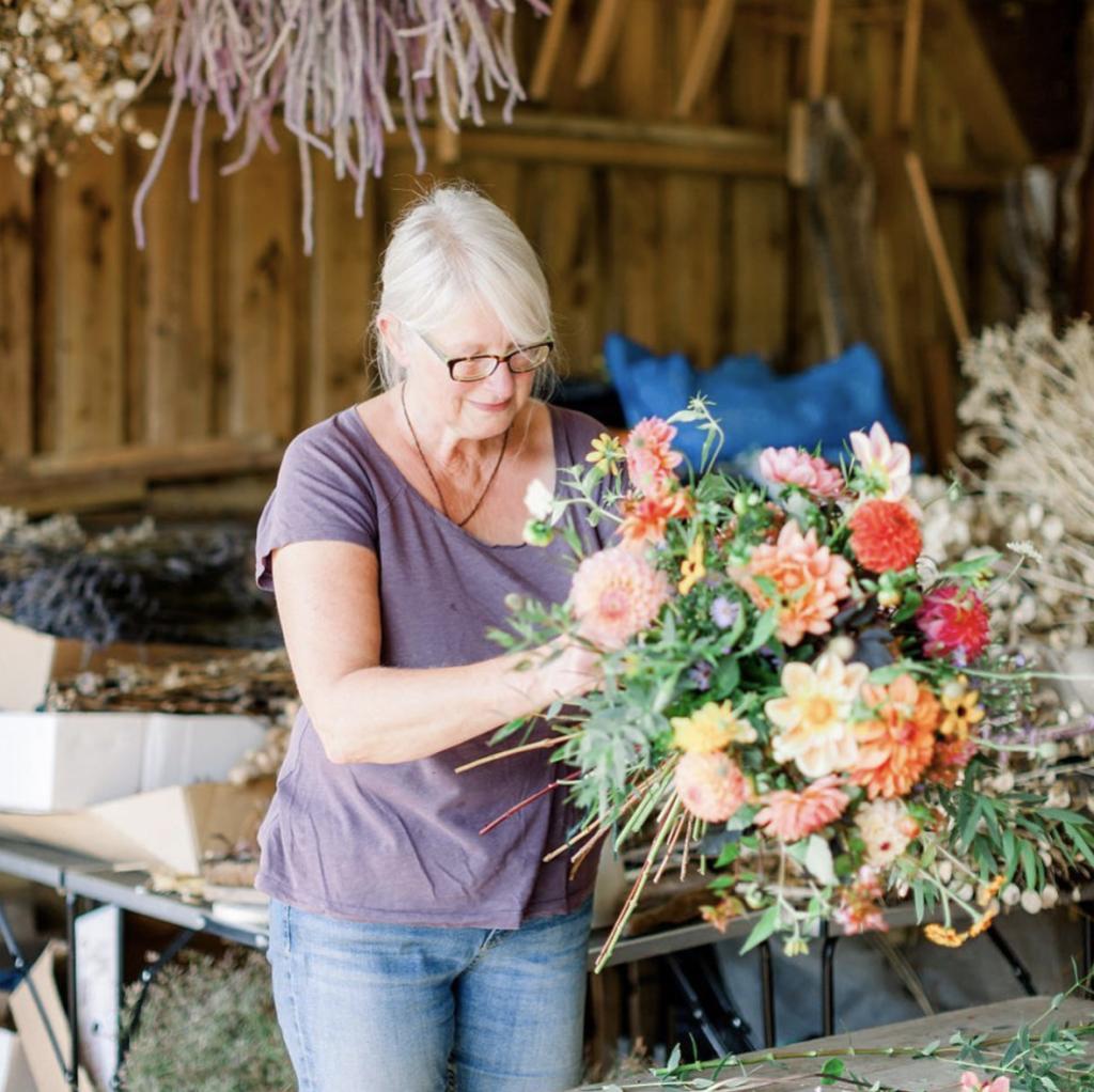 Carol Siddorn of Carol's Garden puts together a stunning bouquet of British cut flowers in her workshop