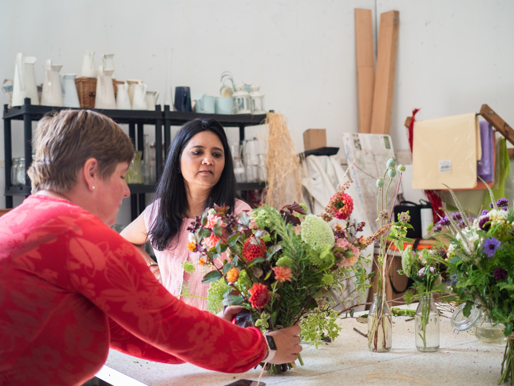 Hosting workshops in the barn at plantpassion where guests get to cut and arranger flowers. Photo by Kerry J photo