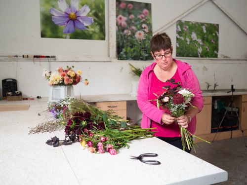 Claire at Plantpassion making up October bouquets in the barn. Photo by Kerry J photo