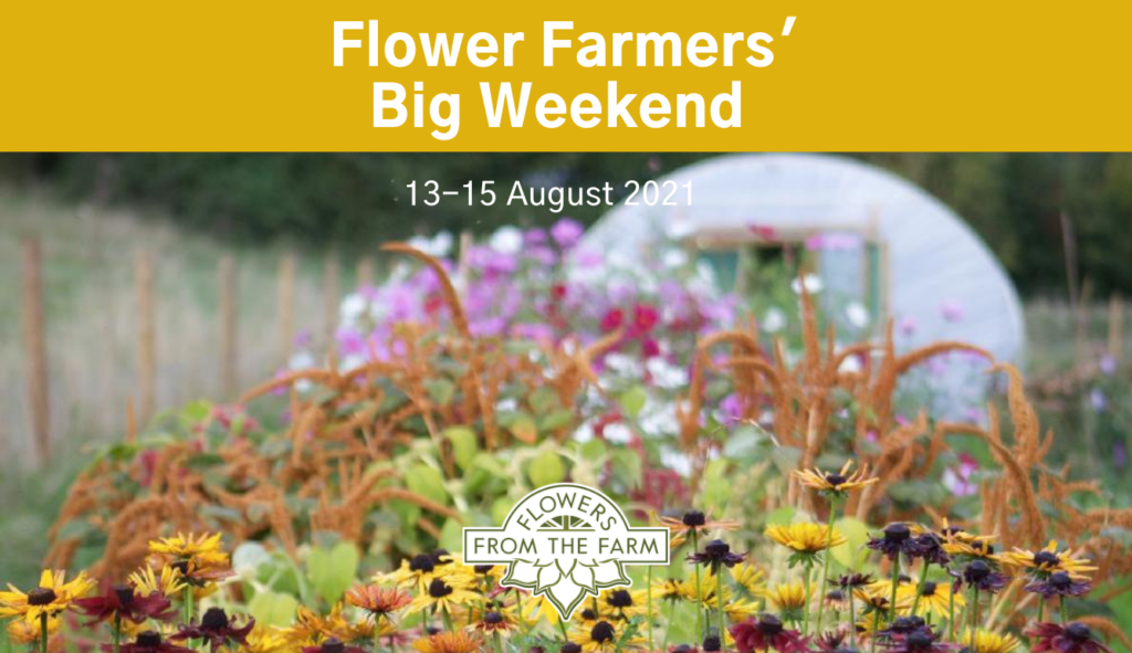 Poster for Flowers Farmers Big Weekend in the cutting border at the Floriferous plot with the poly tunnel in the background
