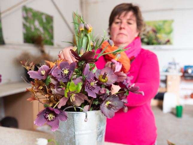 Claire at Plantpassion making up a flower arrangers bucket with mid April flowers - Photo Kerry J Photo