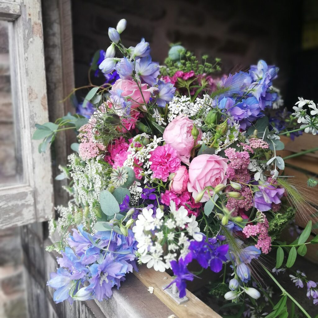 A seasonal scented bouquet for local delivery by Farhill Flowers, Monmouth.