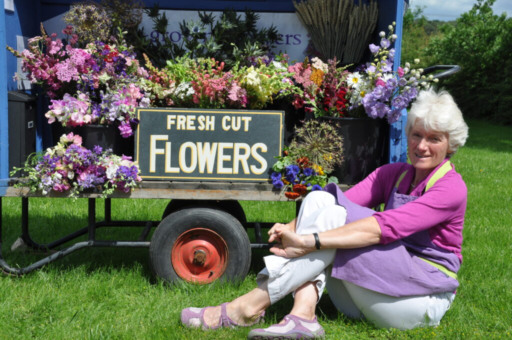 Gill Hodgson, founder of Flowers from the Farm, sits on the grass in front of a blue trolley filled with buckets of freshly picked British cut flowers from her farm.