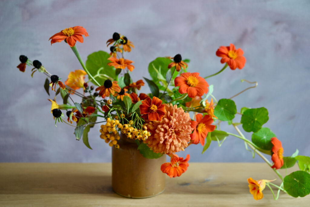 An arrangement of summer British cut flowers: orange zinnias, rudbeckia cones, yellow berries and orange trailing nasturtiums in a small earthenware vase by Harebell and Bee.