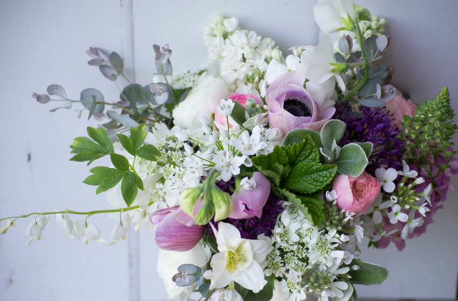 May wedding bouquet with seasonal favourites like Dicentra and Anemones for DIY weddings