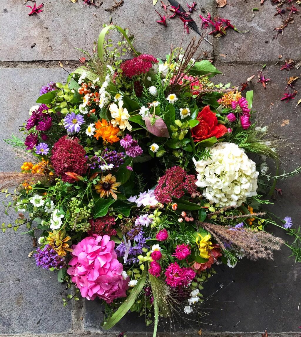 A colourful summer wreath with hydrangeas by Mrs Mosley's Posies