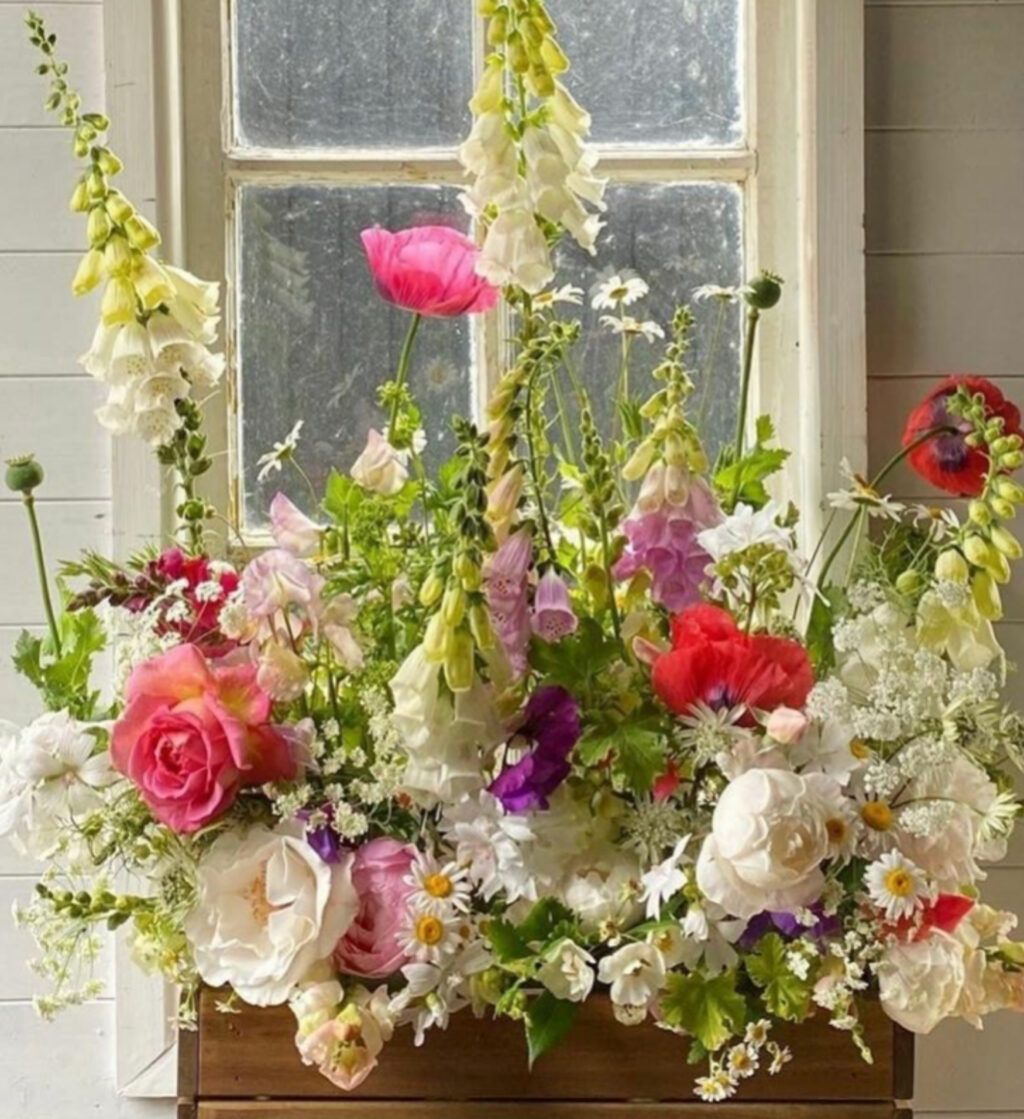 Queenies Flowers makes a stunning window box display resembling an indoor meadow with tall foxgloves, bright poppies and scented garden roses.