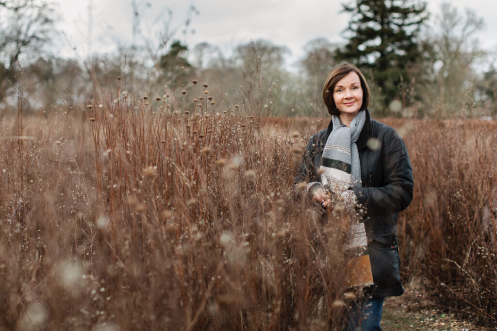Simply by Arrangement's Sarah Statham in an autumn field. she loves the faded tones of this season.