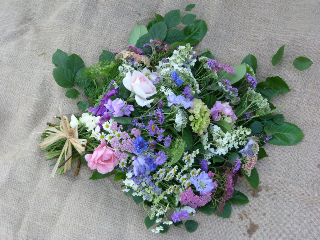Offering a natural alternative for funeral flowers - a pastel sheaf of purple blue and pink garden flowers by Sussex Cutting Garden