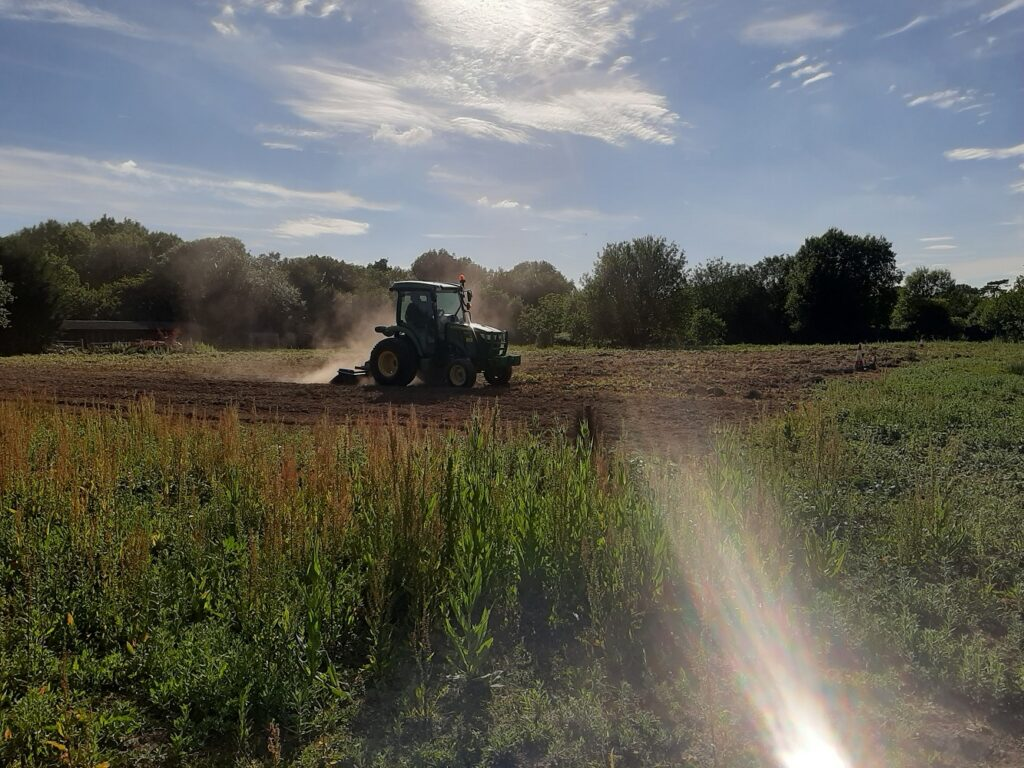 Tractor ploughing in summer at the Sussex Cutting Garden flower field with sunlight glinting off the paths.