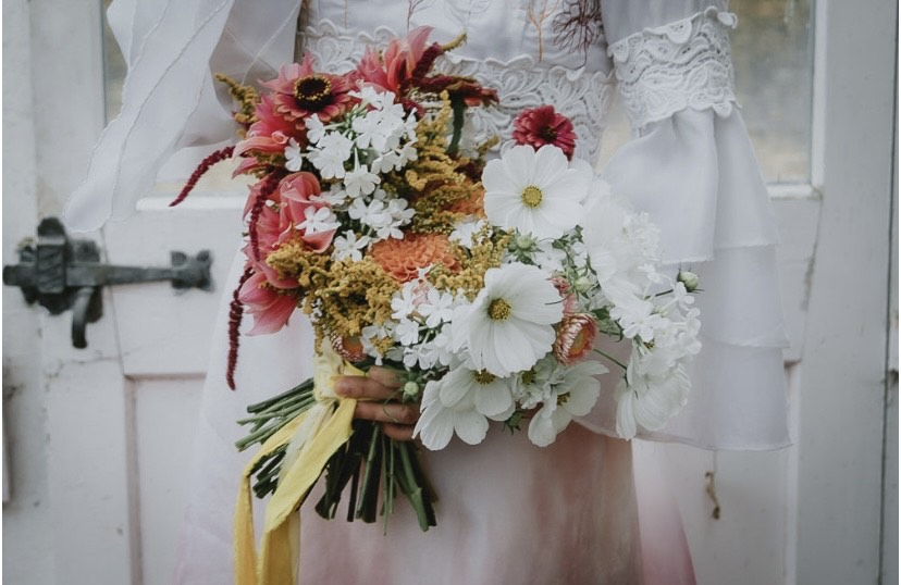 A summer wedding bouquet with cosmos dahlias and pops of coral and orange, tied with a silk ribbon. The Native Florist.