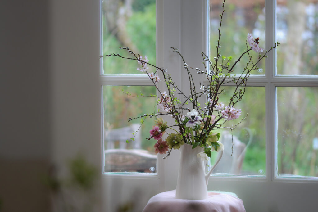 A simple white jug filled with pink cherry blossom, pussy willow, bursting fresh green buds and dusky pink hellebores - the best of the early spring cutting garden. Photo: Tuckshop Flowers
