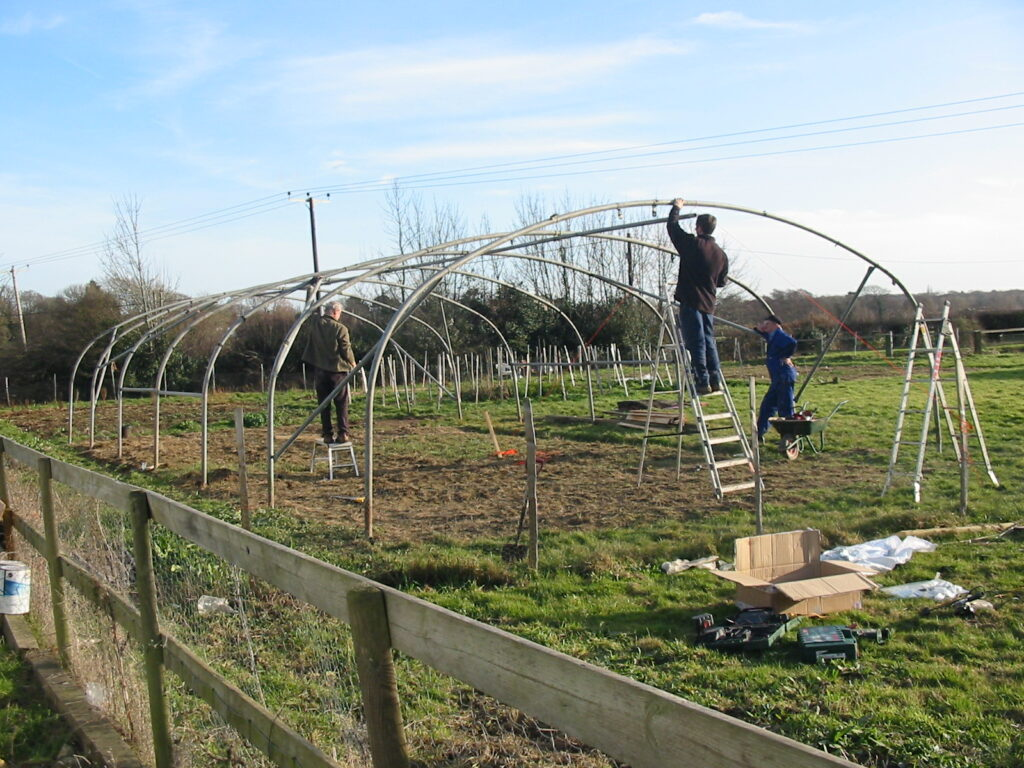 Getting ready to skin the poly tunnel at Sussex Cutting Garden.