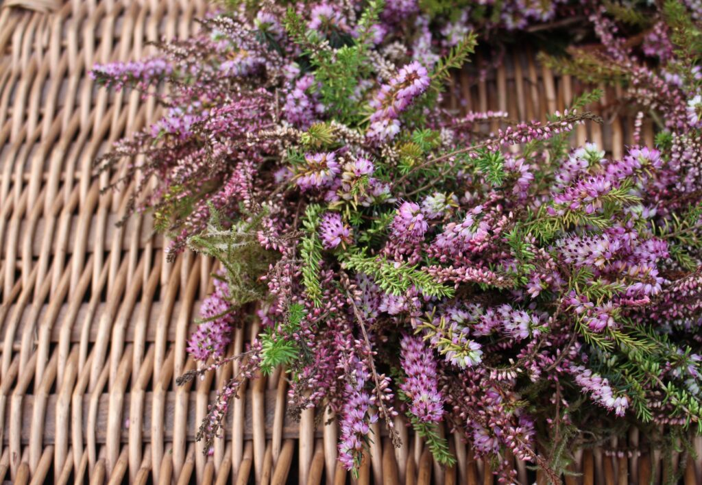 A biodegradable heather wreath for a natural funeral. Photo: Tuckshop Flowers.