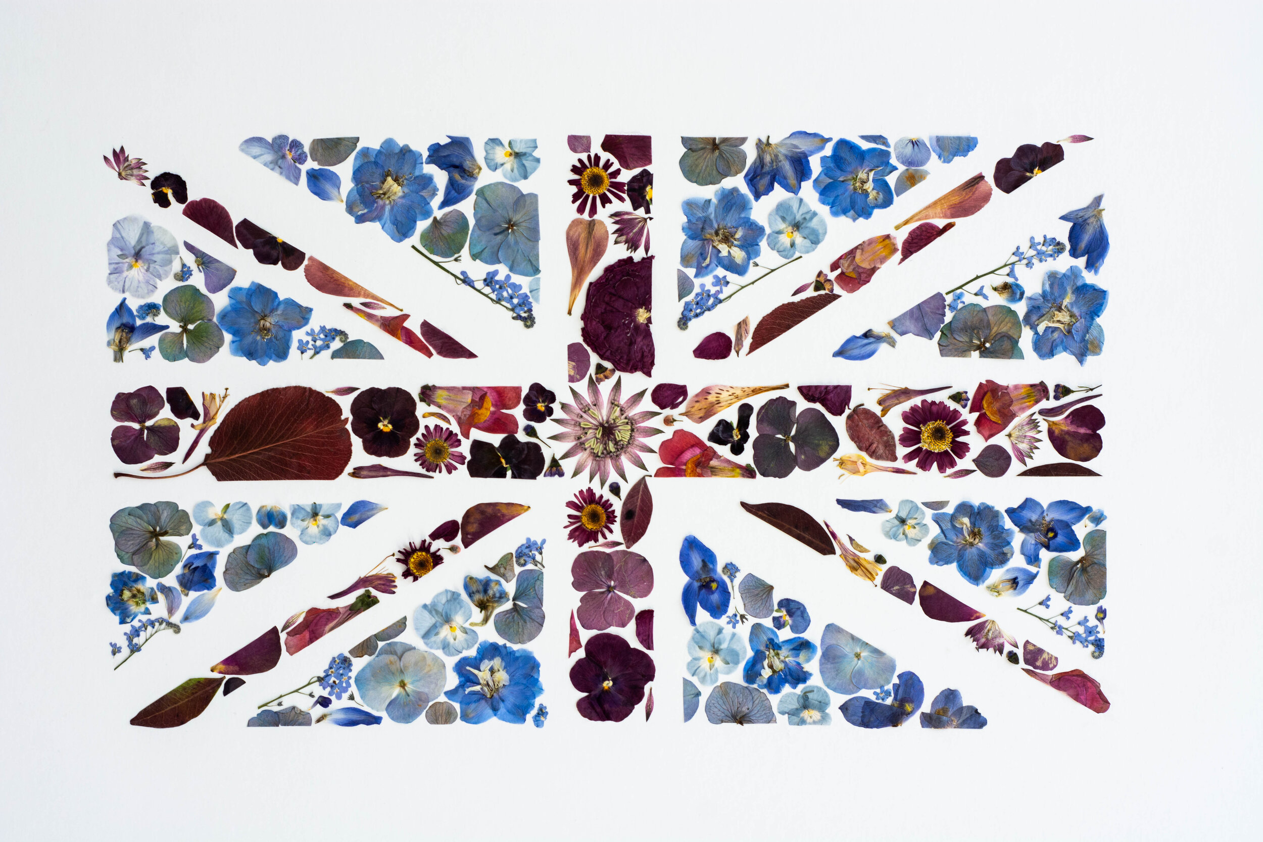The floral version of a Union Jack flag created by Columbia Road Press for British Flowers Week