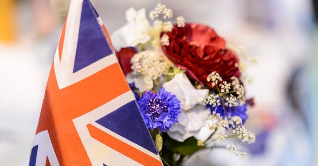 A red white and blue posy with a small Union Jack flag from the West Midlands first ever flower show display at BBC Gardeners' World Live. Photo: Jason Ingram