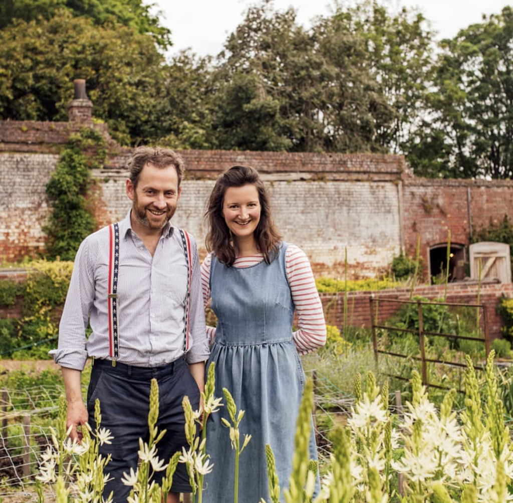 Stokesay Flower Barney and Victoria Maritin in the walled garden
