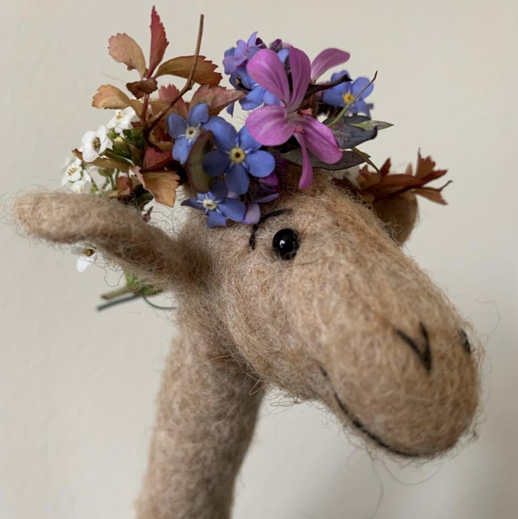 John the Hungarian giraffe at Fieldgarden Flowers wears a flower crown for National Garden Day