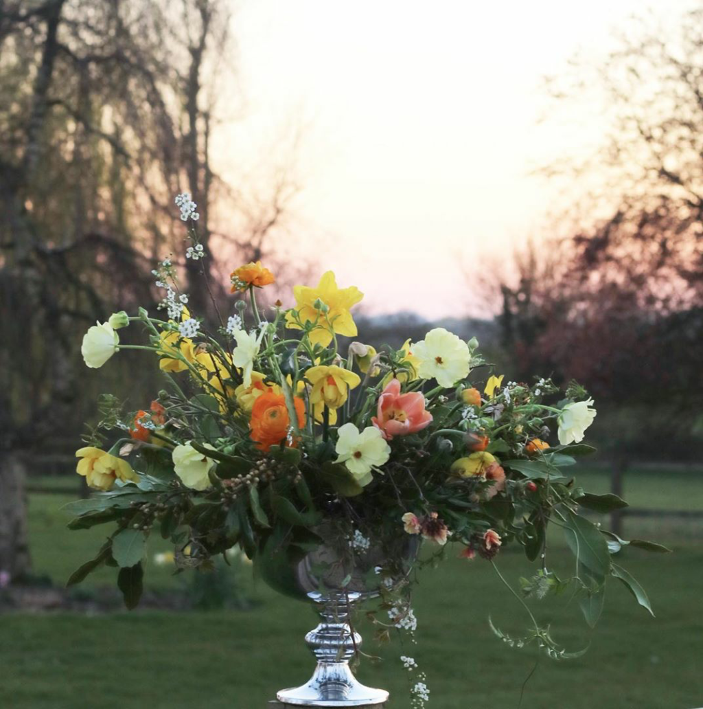 A large compote of dark foliage studded with colourful orange ranunculus, yellow narcissi and creamy ranunculus phtograped against a receding avenue of trees. Tangle and Thyme, Essex