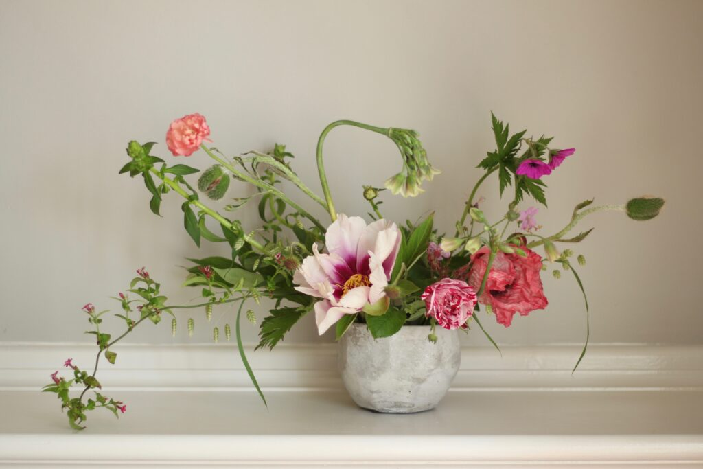 Tuckshop Flowers May arrangement in a concrete bowl with tree peony and an allium nectaroscordum sicculum curving over the top.