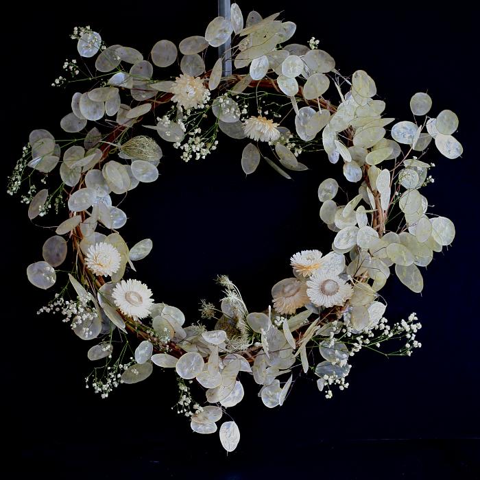 An honesty and gypsophila dried flower wreath by Henthorn Farm Flowers