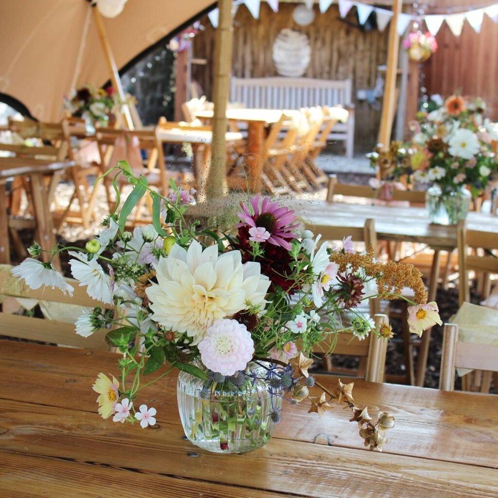 Dahlias for wedding table flowers for a festival wedding in a tipi by The Floral Potager