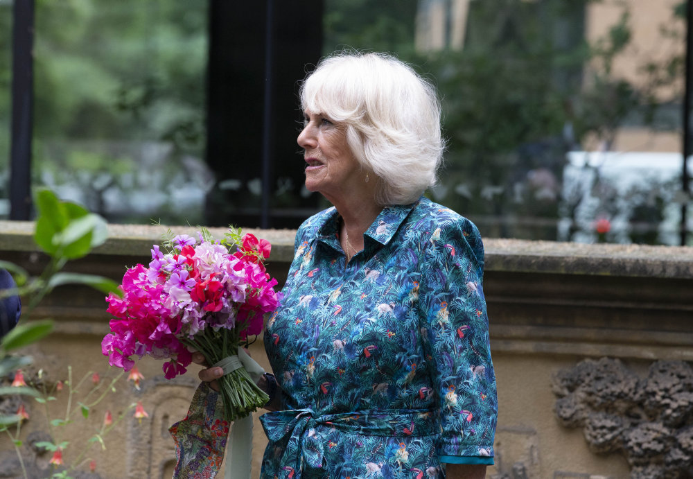 The Duchess of Cornwall holds a bouquet of British flowers at the London Garden Museum's British Flowers Week launch 2021