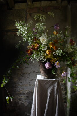 Sarah's graceful airy arrangement of naturally styled garden flowers for British Flowers Week 2021. Jill Shaddock Photography.