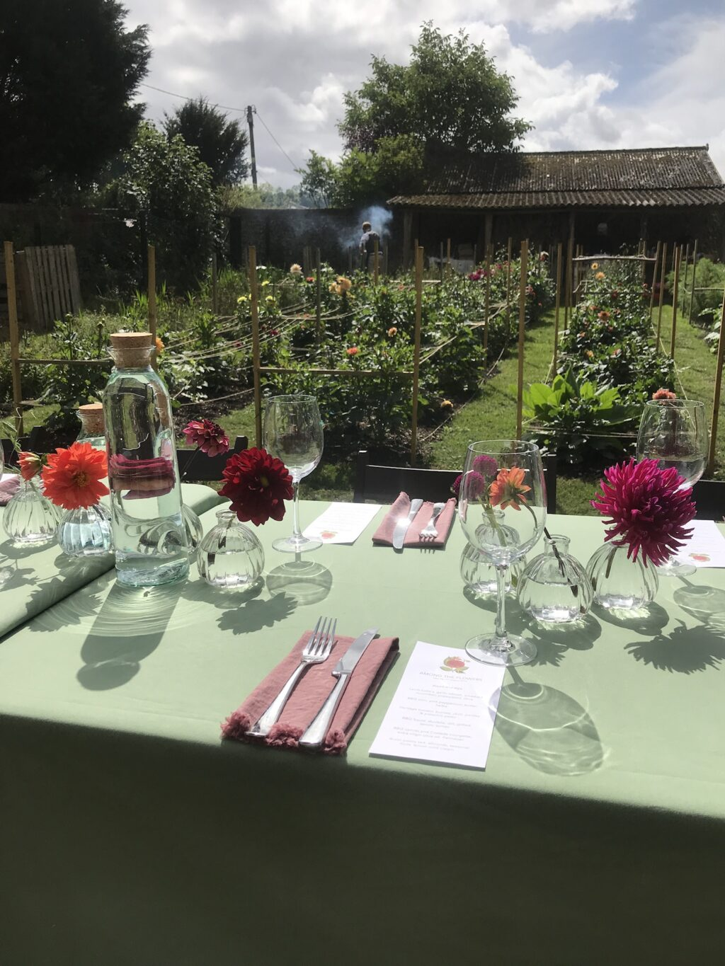 Tables prepared for guests at Annas Flower farm for a feast amongst the flowers
