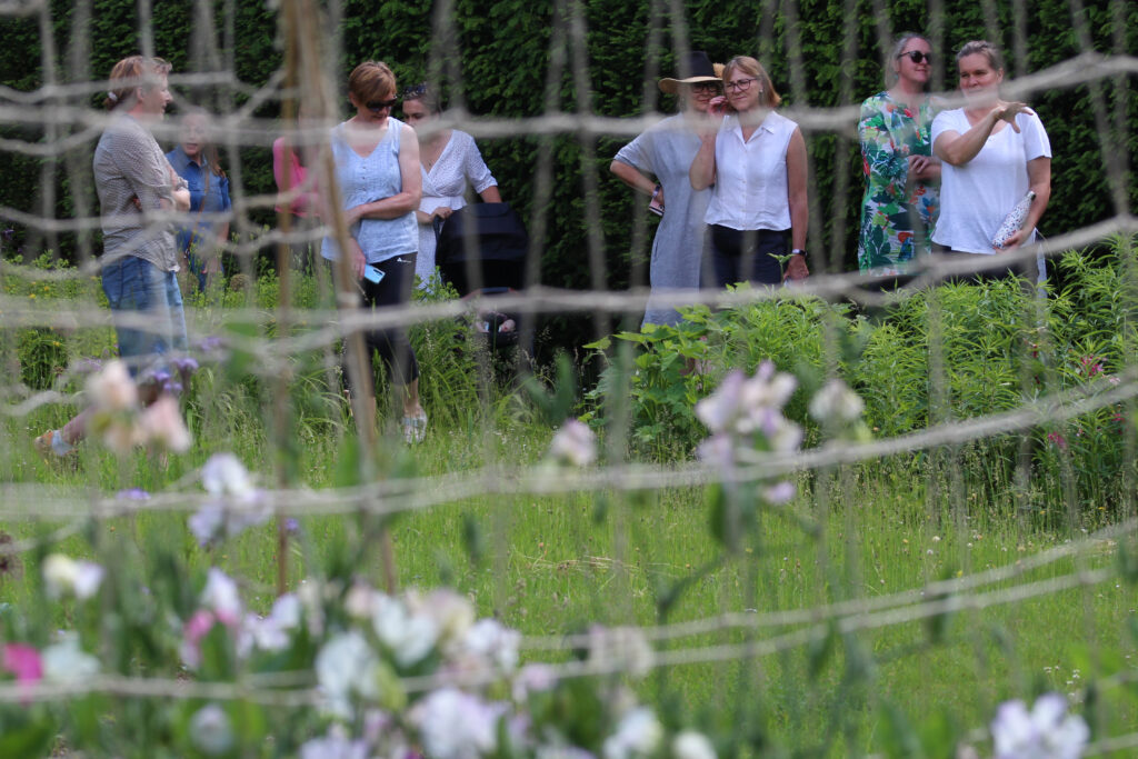 West Midlands members meet for a tour of Garden to Vase's flower plot near Banbury in British Flowers Week 2021