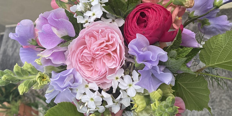 A bunch pale sweet peas, phlox and roses from the Cornish Cottage Garden