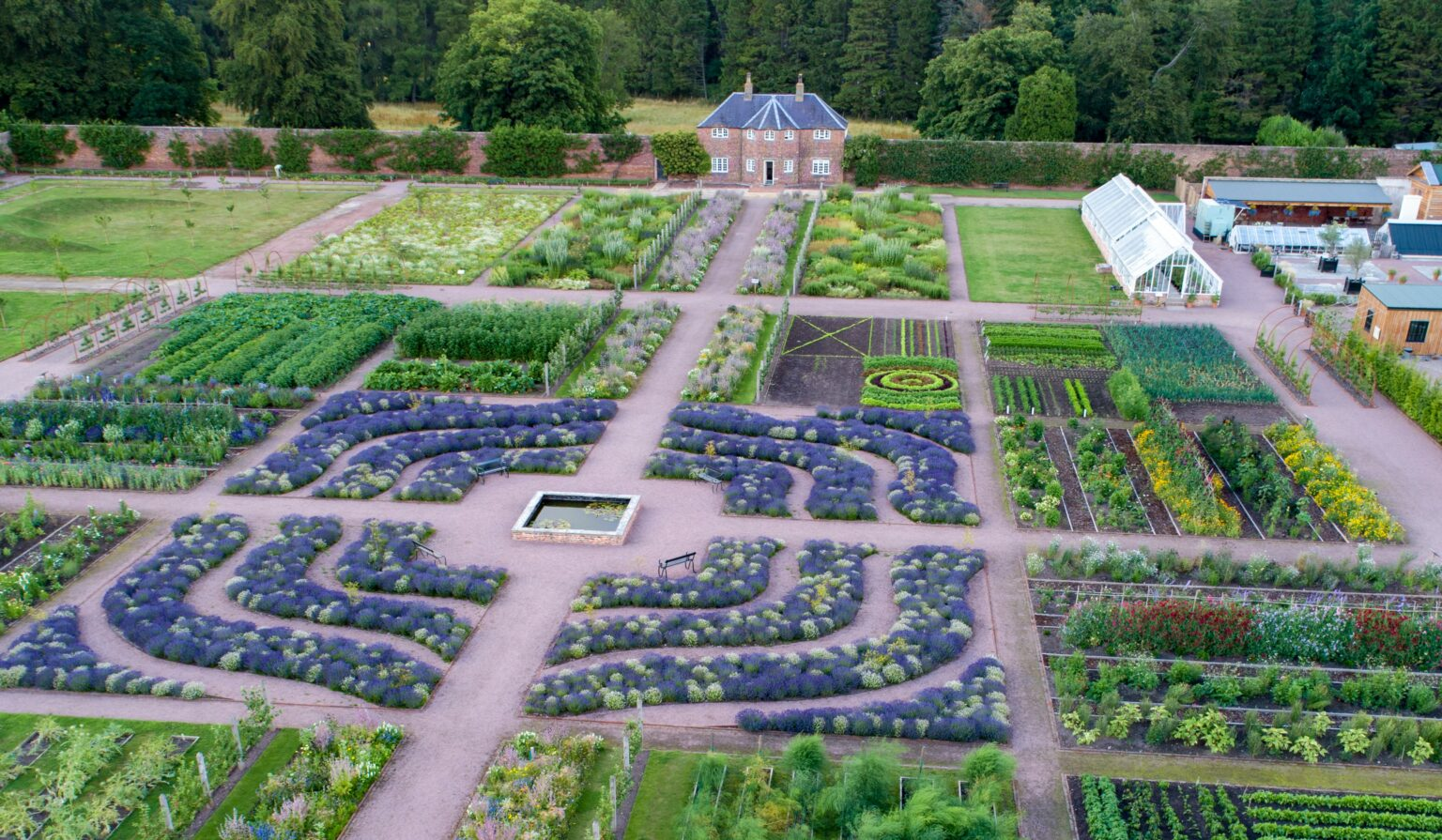 Aerial view of the elaborate cutting beds at Gordon Castle Walled Garden