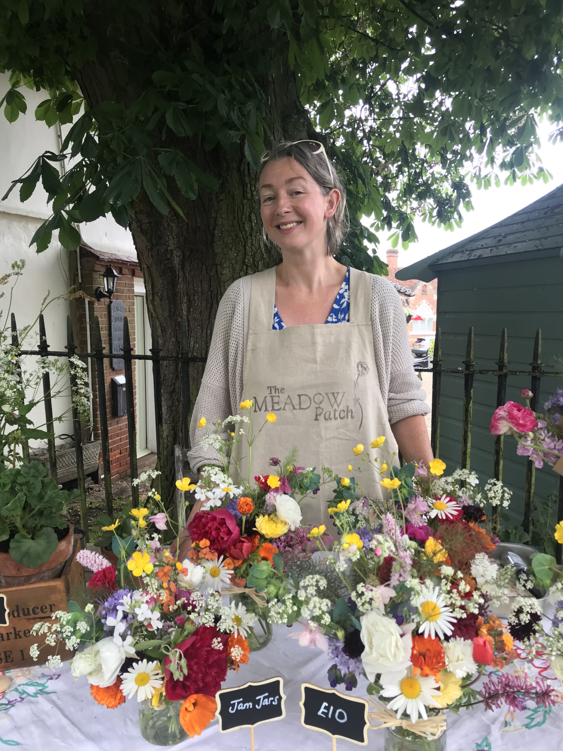 Victoria Uff of The Meadow Patch selling locally grown British flowers at her market stall