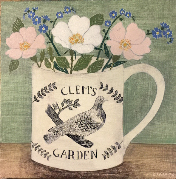 The Clem's Garden logo - roses and forget-me-nots in a handprinted mug