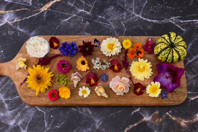 A selection of late season edible British flowers grown by Yorkshire Edible Flowers