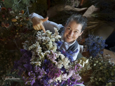 Kathryn of Fierceblooms celebrates her stock of British grown limonium flowers which she's carefully dried over summer for her sustainable autumn wreaths.