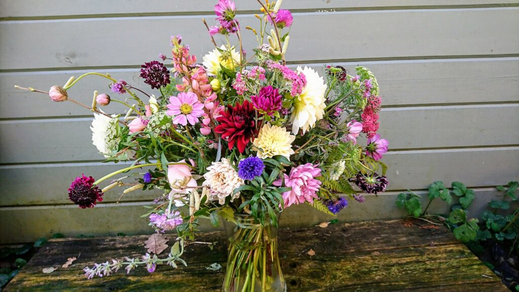 Autumn flowers in a vase