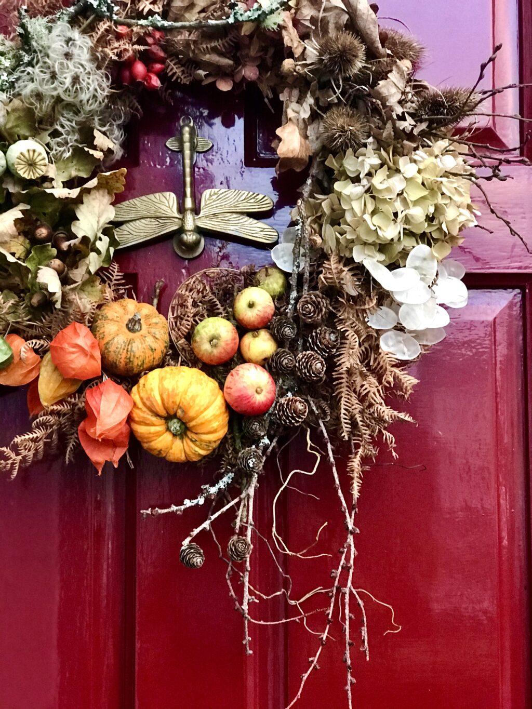 An autumnal door wreath